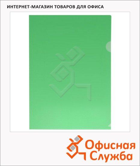 Папка-уголок Бюрократ зеленая прозрачная, A4, 180мкм, E310/1GR