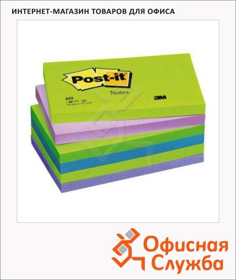 фото: Блок для записей с клейким краем Post-It Classic 6 цветов холодная неоновая радуга, 76х127мм, 6х100 листов, 655-МТ
