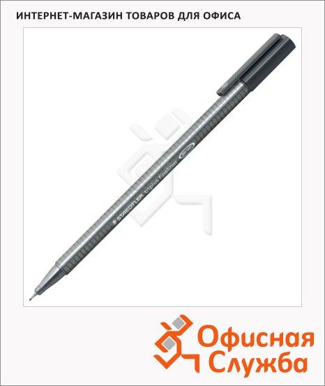 фото: Ручка капиллярная Staedtler Triplus Fineliner 334 серая 0.3мм, серебристый корпус