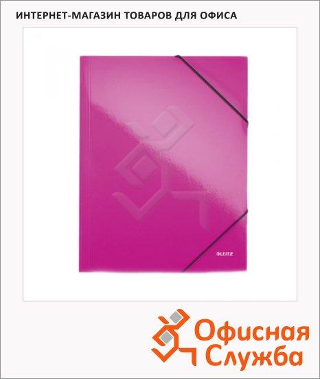 Пластиковая папка на резинке Leitz Wow розовая, A4, до 150 листов, 45990023
