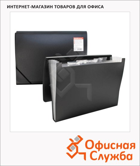 Пластиковая папка на резинке Erich Krause Standard черная, A4, 6 отделений, 14480