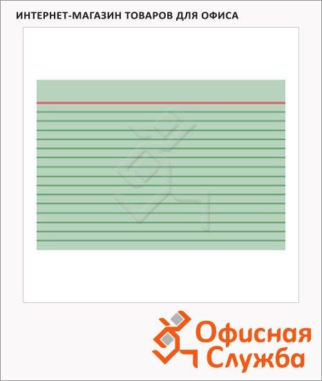 Карточки для картотеки Brunnen А6, линованные, 100шт, зеленые