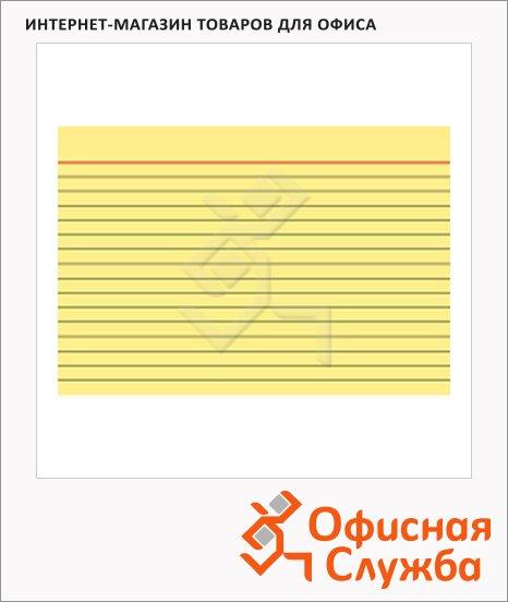 Карточки для картотеки Brunnen А7, линованные, желтые, 100шт