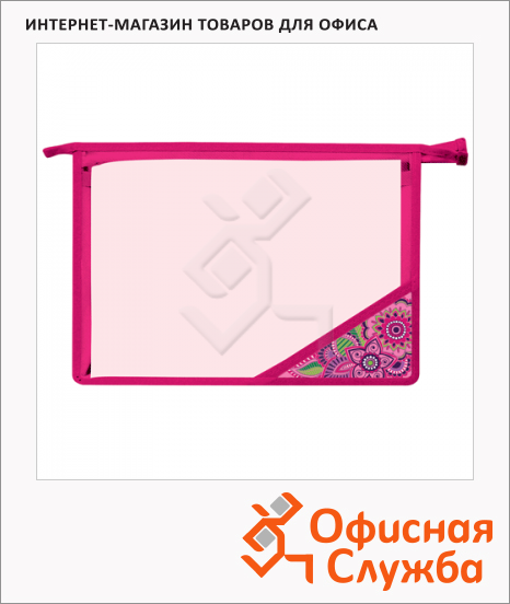 Пластиковая папка на молнии Brauberg Magic Dream прозрачная, A4, 224803
