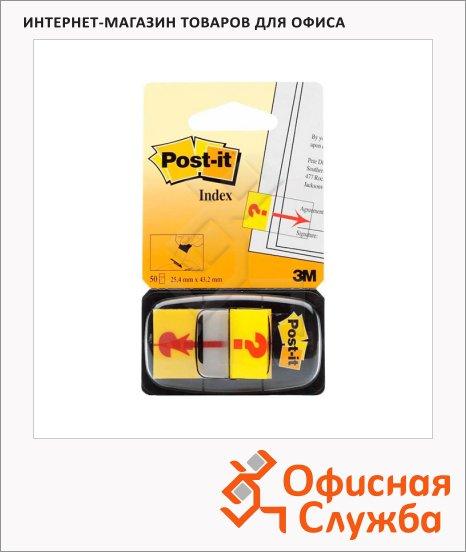 Клейкие закладки пластиковые Post-It Index желтый, 25х43мм, 50 листов, Знак Вопроса, в диспенсере, 680-32R