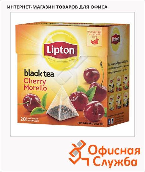 фото: Чай Lipton Cherry Morello черный, в пирамидках, 20 пакетиков