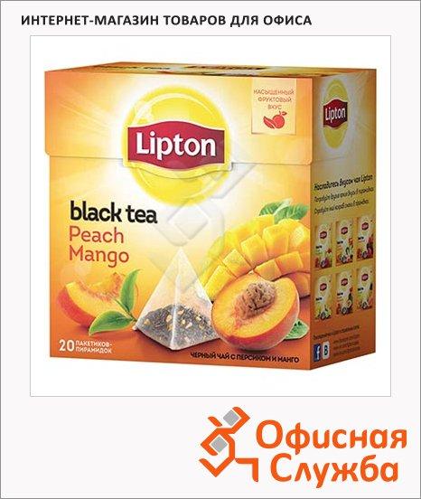 Чай Lipton Peach Mango, черный, в пирамидках, 20 пакетиков