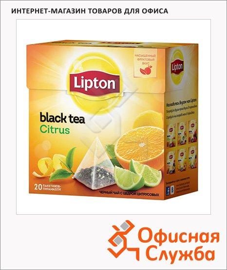 Чай Lipton Citrus, черный, в пирамидках, 20 пакетиков