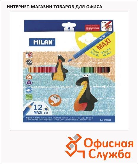 Набор цветных карандашей Milan 261 Maxi 12 цветов, трехгранные, с точилкой