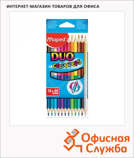 Набор цветных карандашей Maped Color Peps 24 цвета, двусторонние, 829600