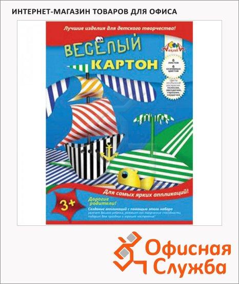 Цветной картон Апплика 6 цветов, А4, 6 листов, двухсторонний, полоски