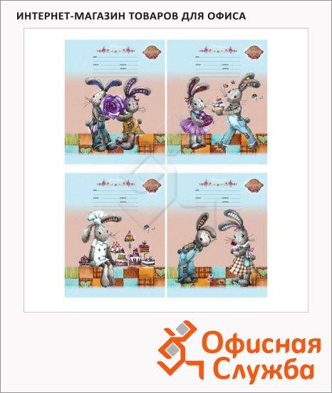 фото: Тетрадь Hunny Bunny А5, 24 листа, в клетку, мелованный картон
