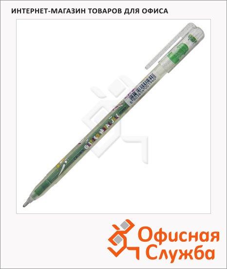 фото: Ручка гелевая Crown Люрекс светло-зелёная 1мм