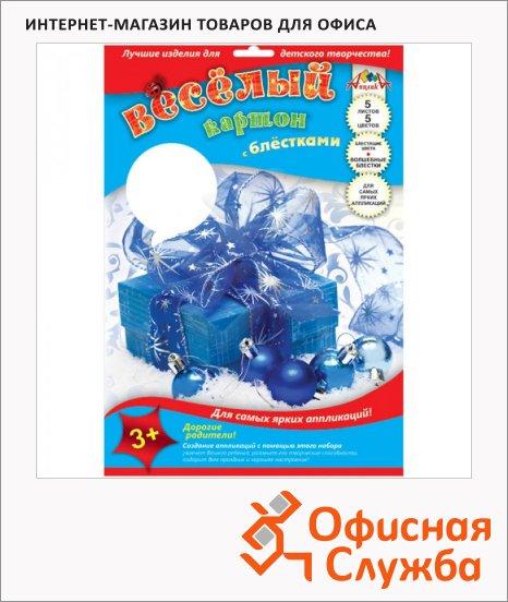 фото: Цветной картон Веселый лак с блестками А4, 5 цветов, 5 листов