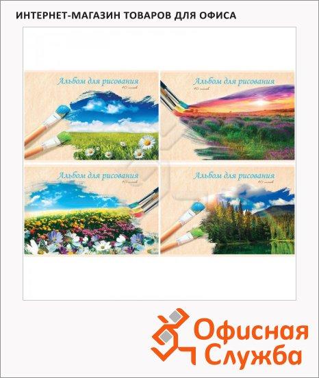 фото: Альбом для рисования Нарисованный пейзаж А4, 100г/м2, 40 листов, на скрепке