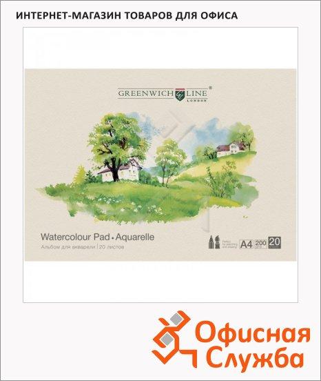 фото: Альбом для акварели Пейзажи А4, 200 г/м2, 20 листов, на склейке