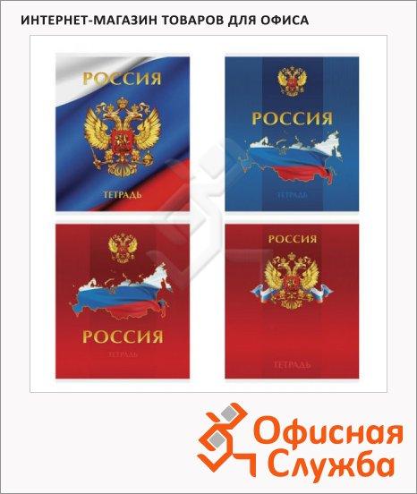 Тетрадь общая Office Space Россия, А5, 96 листов, в клетку, на скрепке, мелованный картон/ лак