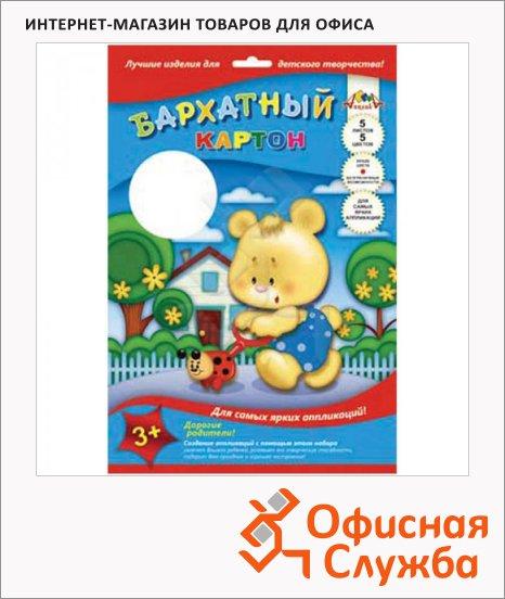 Цветной картон Апплика 5 цветов, А4, 5 листов, бархатный, Мишка