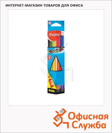 Набор цветных карандашей Maped 12 цветов, с точилкой