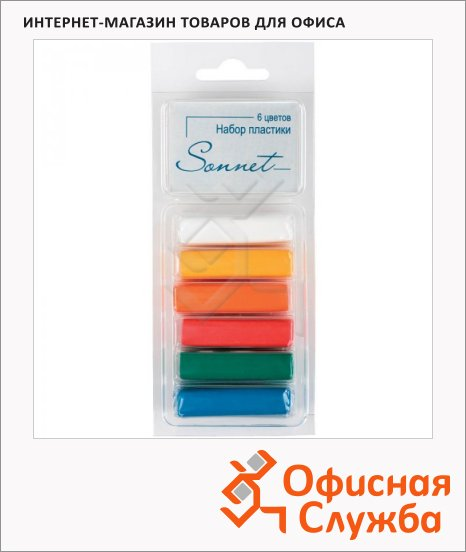фото: Набор пластики Невская Палитра Сонет 6 цветов 120г, основные цвета