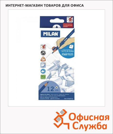 Набор цветных карандашей Milan 235 Rubber Touch 12 цветов, трехгранные