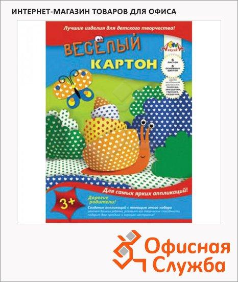 Цветной картон Апплика 6 цветов, А4, 6 листов, двусторонний, сердечки