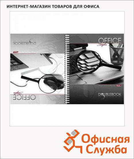 Тетрадь общая Hatber Office Style, A5, 80 листов, в клетку, на спирали, мелованный картон, двойная