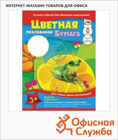 Цветная бумага Апплика 10 цветов, А3, 10 листов, мелованная