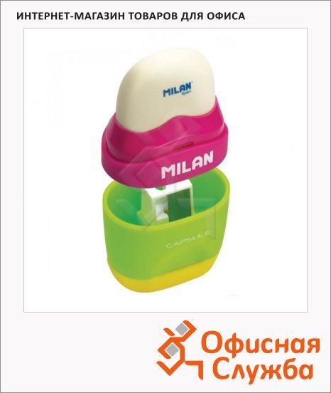 Точилка Milan Capsule Mix 1 отверстие, с контейнером, с ластиком, ассорти
