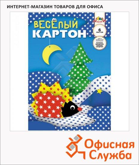 фото: Цветной картон Апплика Веселый 6 цветов А4, 6 листов, двухсторонний, звездочки
