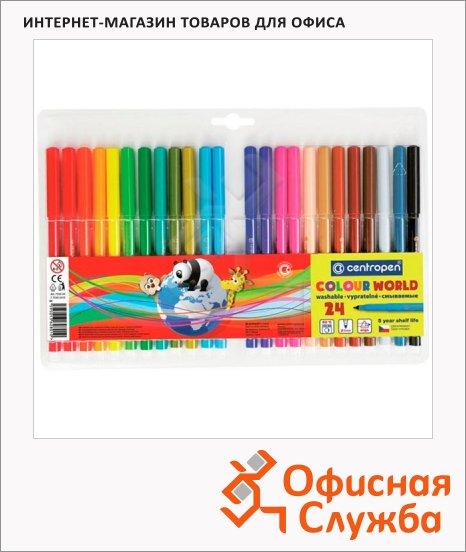 фото: Фломастеры для рисования Centropen Colour World 24 цвета смываемые
