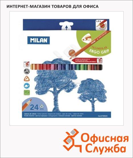 фото: Набор цветных карандашей Milan 231 24 цвета трехгранные, 728324
