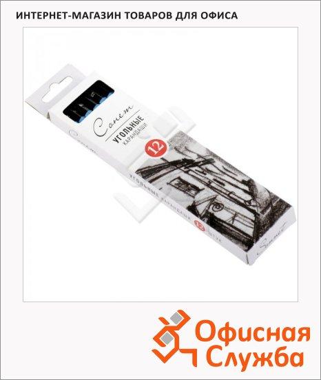 Уголь для рисования Невская Палитра Сонет мягкий, 12шт
