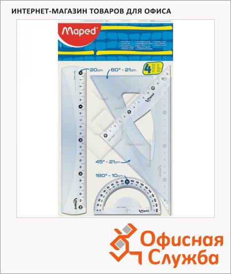 Набор чертежный Maped Start 4 предмета, линейка 20см, угольники 21см, транспортир 10см 242820