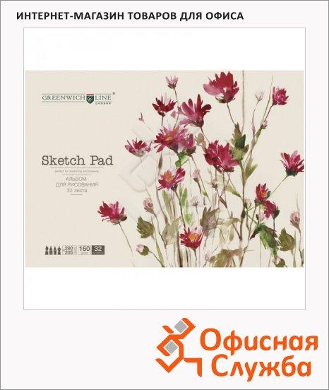 Альбом для рисования Greenwich Line Цветы, А4, 160 г/м2, на склейке, 32 листа