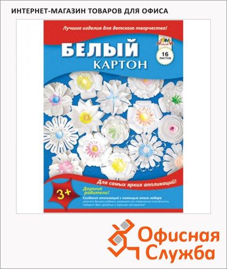 Картон белый Апплика 16 листов, А4, в папке