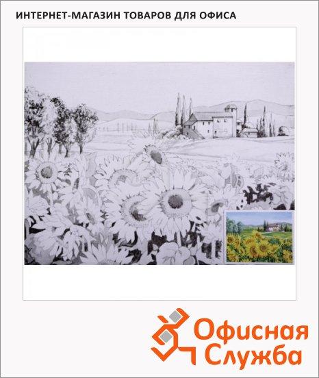 Холст грунтованный Невская Палитра 30x40см, 280 г/м2, хлопок, с контуром Подсолнух, среднее зерно