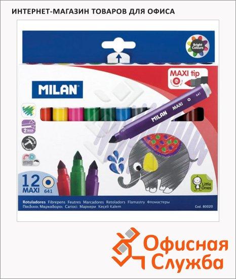 Фломастеры Milan 641 Maxi 12 цветов, утолщенные, смываемые