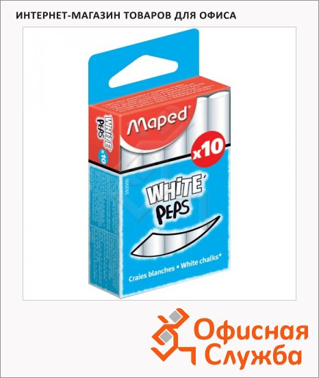 фото: Набор мелков Maped White'Peps белые круглые, 10шт