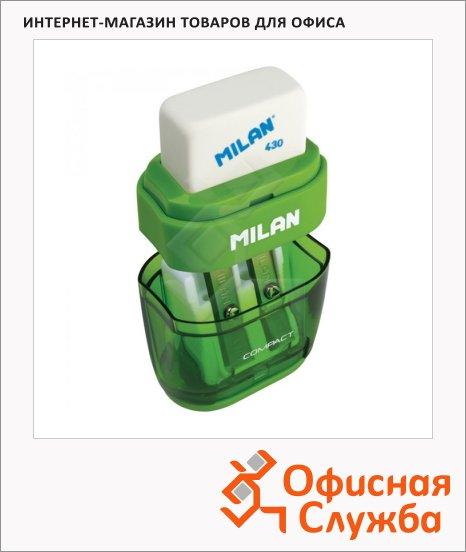 Точилка Milan Compact 2 отверстия, с контейнером, с ластиком, ассорти