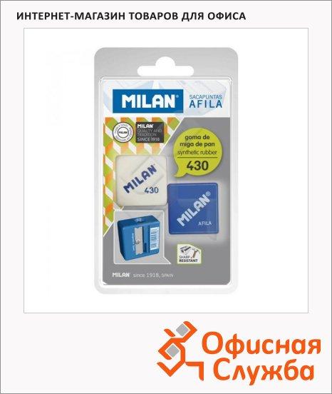 Точилка Milan 430 1 отверстие, с ластиком, ассорти