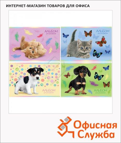 фото: Альбом для рисования Котята и щенки А4, 100г/м2, 12 листов, на скрепке