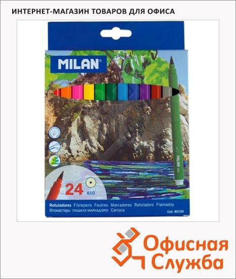 фото: Фломастеры для рисования Milan 610 24 цвета смываемые