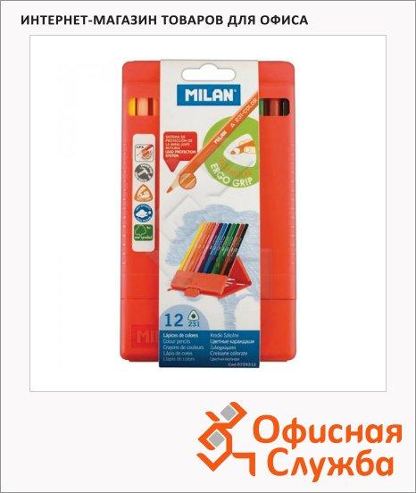 Набор цветных карандашей Milan 231 12 цветов, трехгранные, в пластиковом футляре