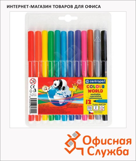 Фломастеры Centropen Colour World 12 цветов, смываемые