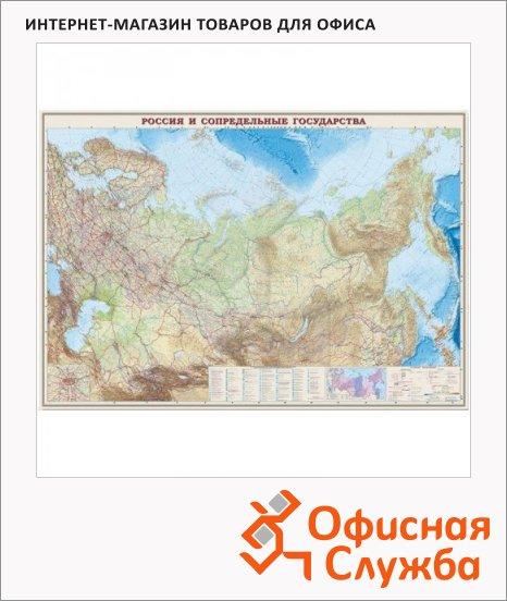 Карта настенная Dmb Россия и сопредельные государства общегеографическая, М-1:4 000 000, 197х140см