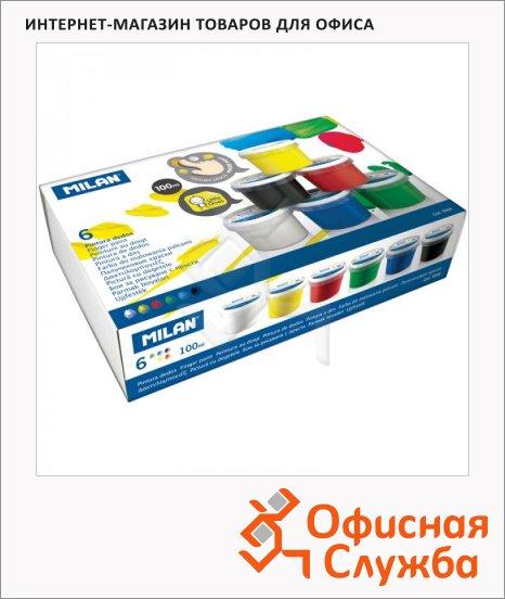 Краски пальчиковые Milan 6 цветов x 100г