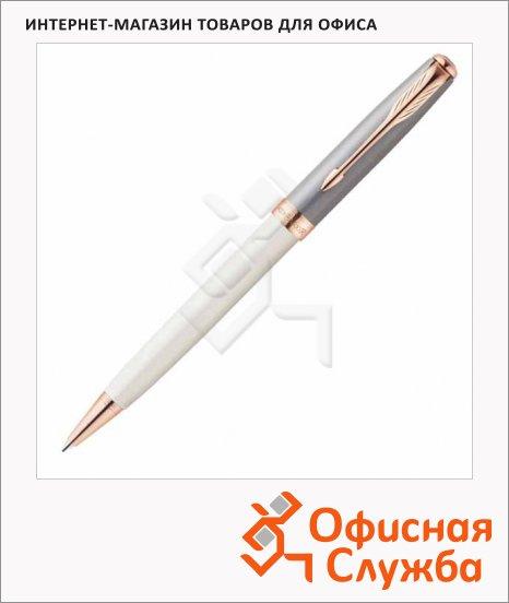 Ручка шариковая Parker Sonnet Subtle Purl & Grey 1мм, черная, корпус белый с золотом