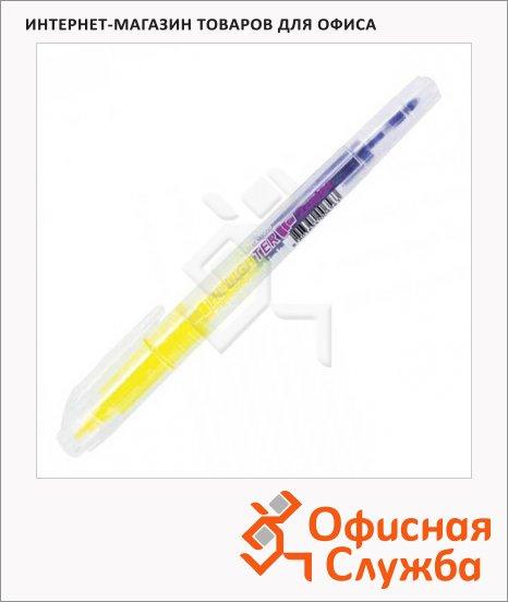 фото: Текстовыделитель Crown H2-1000 желтый/фиолетовый 1-3 мм, скошенный наконечник, круглый наконечник, двухсторонний