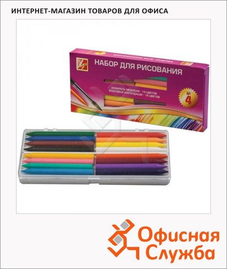 Набор художественный Луч №4, акварель 12 цветов медовые, 16 цветов карандаши восковые, кисть №3